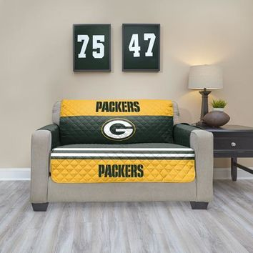 Green Bay Packers Love Seat Furniture Protectors With Elastic Straps