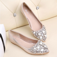 women Ballet  shoes leisure spring pointy ballerina Rhinestone shiny flats shoes gilrs princess Crystal wedding shoes