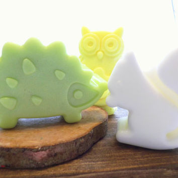 Woodland Animal Soaps; 50 BULK Favors for Baby Shower or 1st Birthdays; Natural Glycerin, Personalized Custom Labels, Soap Packaging