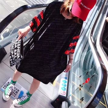"""Adidas"" Loose Casual Fashion Multicolor Sequin Stripe Letter Print Short Sleeve T-shirt Dress"