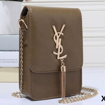 YSL Tassel Women Shopping Leather Metal Chain Crossbody Satchel Shoulder Bag H-MYJSY-BB-1