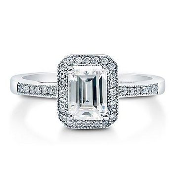 A Perfect 1CT Emerald Cut Russian Lab Diamond Halo Ring