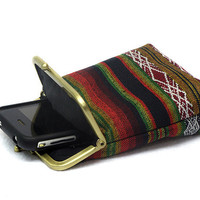 Fabric IPhone 5 Case -Tribal Fabric - 5, 4, 4S, 3GS, Large Cell Phone - Antique Bronze Frame