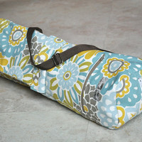 white, yellow, blue and brown floral yoga and pilates mat bag with zipper and adjustable strap ON SALE