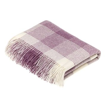 Merino Lambswool Blanket Check Lilac Throw Blanket