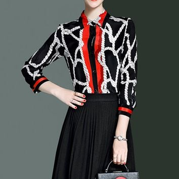 Black Silk Rope Striped Blouse - LIMITED EDITION