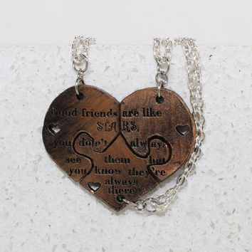 Friendship Puzzle  Necklaces Set of 3 Good friends are like STARS Bronze Leather