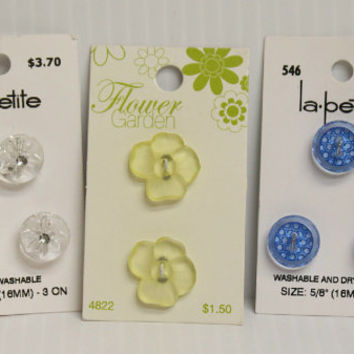 FLOWER BUTTONS, Translucent buttons, yellow buttons, blue buttons, dress making supplies, clear flower buttons, la petite buttons