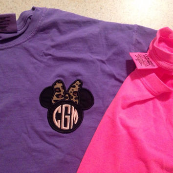Monogram Disney Comfort Colors Applique Tee with Minnie Bow or Princess Crown F