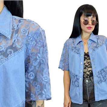 vintage 90s denim + lace top boho hippie soft grunge cotton shirt sheer blouse rockabilly western small