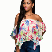 Multicolor Slash Shoulder Floral Printed Blouse