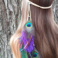 Feather Headband, peacock feather headband, Native American, style, headband, Indian Headband, Peacock headdress,  feather hairband, purple