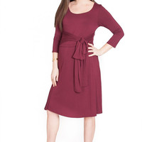 Belted Maternity & Nursing Dress