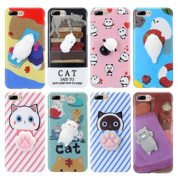 FLOVEME For iPhone 7 7 Plus iPhone 5S 5 Case Cute Squishy 3D Cartoon Phone Case For iPhone 6 6S iPhone 6 Plus SE 5s Accessories