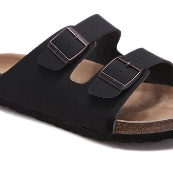 Birkenstock summer fashion leather cork flats slippers casual sandals