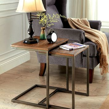 2 pc Zia collection medium weathered oak finish wood and metal frame nesting table set