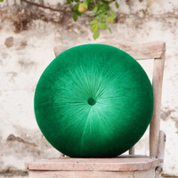 Green silk velvet round pillow 16""