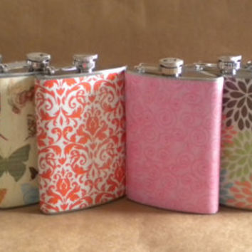 Flasks ANY 8 Print Designs Bridal Party Gift by kryan2designs