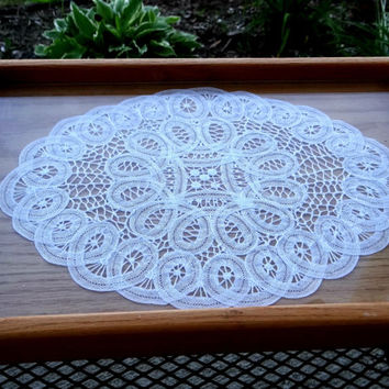 Vintage Wood Tray with Handles, Wood Serving Tray, Serving, Kitchenware, Vanity Tray, Wood Tray with Glass Top and Crocheted Doily