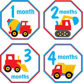 Monthly Baby Milestone Stickers Baby Boy Baby Shower Gift One-Piece Baby Stickers Monthly Baby Stickers Baby Month Stickers Construction