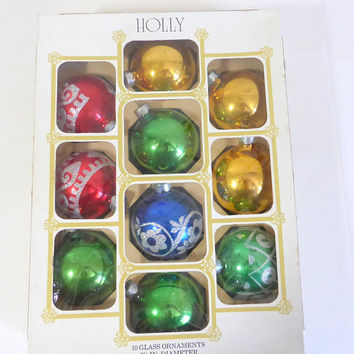 Vintage Holly Glass Ornaments 2 1/4 Inch Diameter Gold Green Red Solid and Glittered Original Box Vintage Chirstmas Ornaments Tree Decor