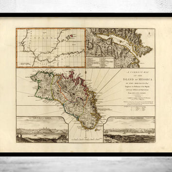 Old Map of Minorca Spain 1794