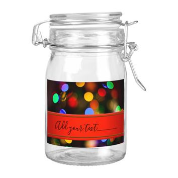 Multicolored Christmas lights. Add text or name. Food Label