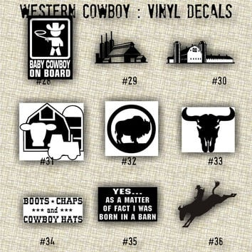 COWBOY vinyl decals | country western | country boy | car decals | car stickers | laptop sticker - 28-36