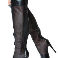 Black Knee High Mesh Zipper Accent Pointed Toe Boots