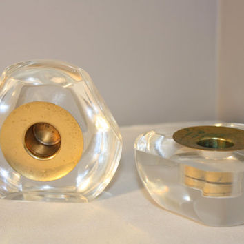 Set of Clear Plastic Candle Holders