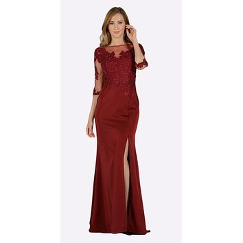 Burgundy Mesh Embroidered Bodice Mid Sleeves Formal Dress with Slit