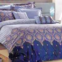 Custom Queen or Full Size Blue, Navy Blue, Beige Damask Pattern Satin Duvet Cover Set, 3 pieces