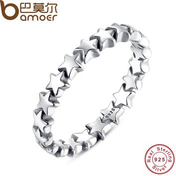 Star Trail Stackable Finger Ring Wedding 100% 925 Sterling Silver Jewelry Collection