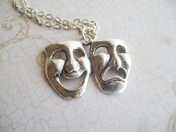 Drama Mask Necklace by Aqsa on Etsy