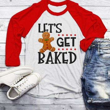 Men's Funny Christmas Shirt Let's Get Baked T Shirt Christmas Cookie Shirts Funny Holiday Graphic Tee 3/4 Sleeve Raglan