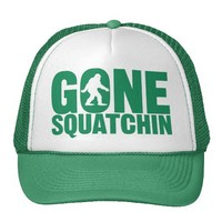 Gone Squatchin Green Letters Hat from Zazzle.com