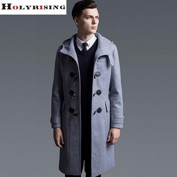 Winter Men Wool Jackets Single Button Hooded Coats Long Warm Overcoats Male Clothing Light Gray Black Navy