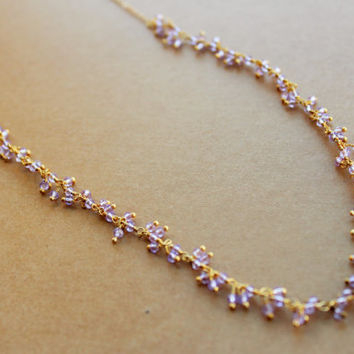 Long Gold Chain Necklace with Pink Beads, Pink and Gold Necklace, Pink Bead Necklace, Long gold necklace, Pink Necklace