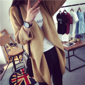 Korean Knit V-neck Cardigan Loose Solid Color Sweater
