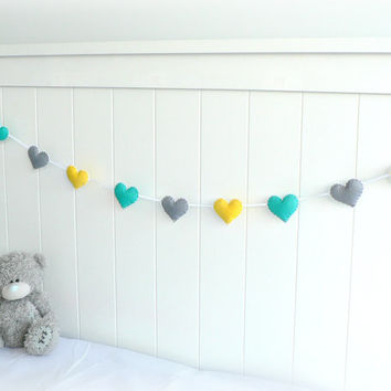 Heart banner/ garland/ bunting in turquoise, yellow and gray felt - Nursery decor - birthday decoration Copy - MADE TO ORDER