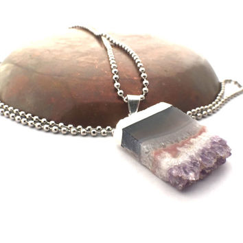"""Amethyst Slice Necklace / Silver Tone Microplated on 30"""" Stainless Ball Chain, Amethyst Jewelry / Stalactite Crystal Healing Gift for Her"""