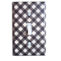 Brown & Cream Lattice Single Toggle Switchplate by PopGoesTheColor