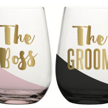 The Boss The Groom 20 oz. Stemless Wine Glass