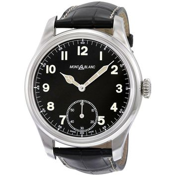 Montblanc 1858 Black Dial Leather Strap Mens Watch 113860