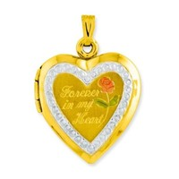 10K Yellow & White Gold Forever In My Heart Locket Charm with Free Gift Box