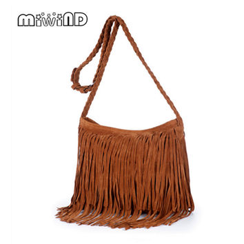 Hot Sale Fashion Women Suede Weave Tassel Shoulder Bag Messenger Bag Fringe Handbags High Quality  Free Delivery  A104