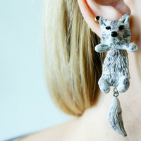 fake gauge plug two part earrings wolf, Polymerclay, handmade