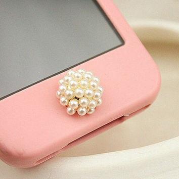 1PC Bling Pearl Ball Apple iPhone Home Button Sticker, Cell Phone Charm for iPhone 5,4,4g,4s