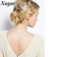 1 PC 2'' Newly Elegant Gold Boutique Butterfly Hair Bow For Sweet Girls Dance Party  Hair Clip Women Hair Accessories