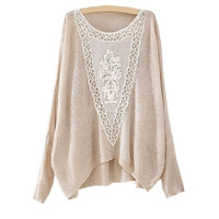 Beige Batwing Long Sleeve Hollow Embroidered Sweater (Size: M, Color: Beige)